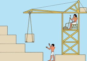 Builders building a pyramid with the help of a crane