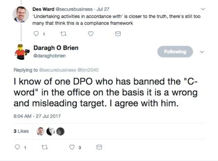 Des and Darah Compliance Tweet
